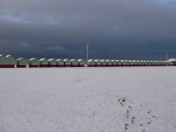 Beach huts covered with snow